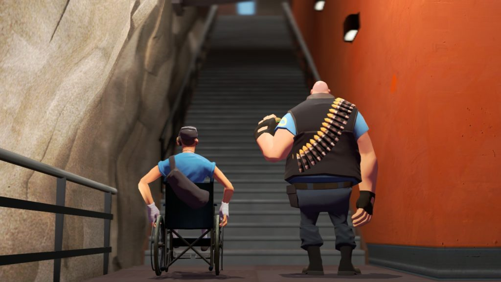 A ilustração mostra dois homens que estão lado a lado, em frente a um grande lance de escadas, de costas para nosso angulo de olhar. A direita, um obeso, careca, com vestes que lembram um uniforme de polícia com uma faixa de munição sobreposta a roupa. A esquerda, um homem em cadeira de rodas, com vestes similares ao outro, com uma mochila passando por um dos ombros e apoiando sobre encosto da cadeira.